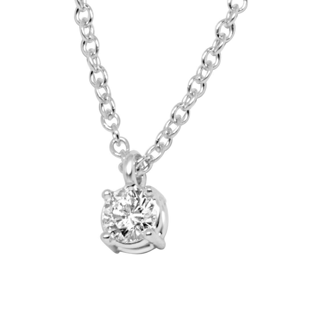 Collier in oro bianco con diamante 0.27 ct - ALFIERI ST JOHN