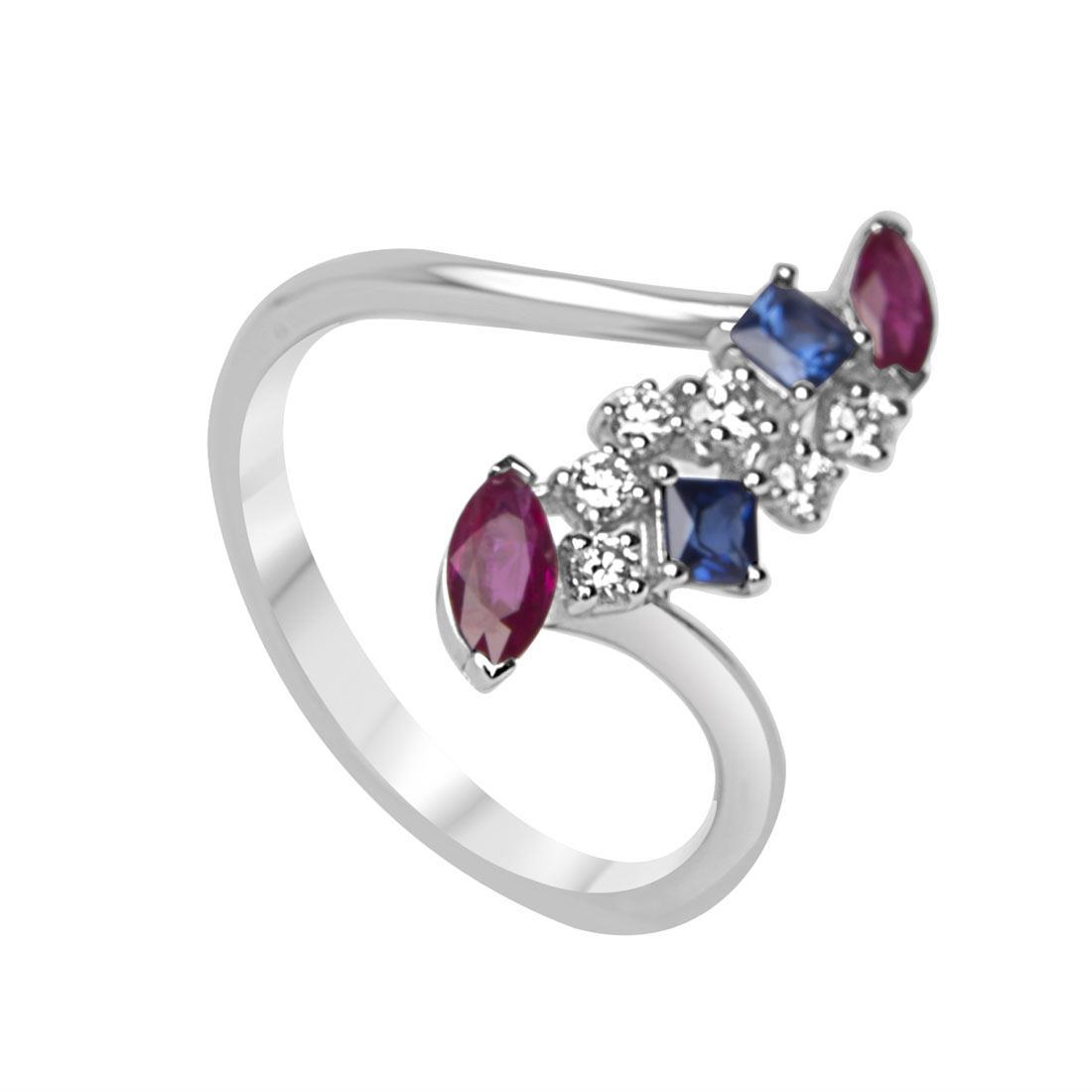 Anello in oro bianco con diamanti, rubini e zaffiri mis 13 - ORO&CO