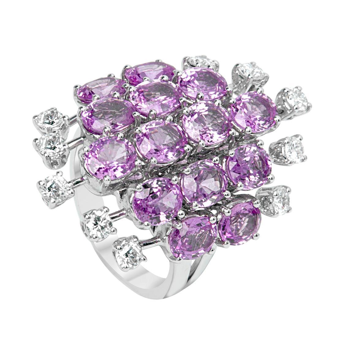 Anello Oro & Co in oro bianco con diamanti ct 0.85 colore G purezza SI e zaffiri ct 8,35  - ORO&CO