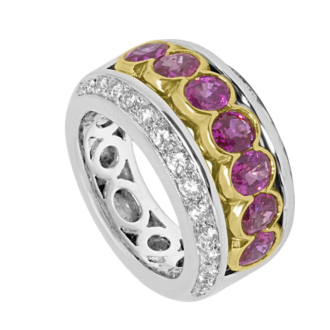 Anello design in oro bianco e giallo con diamanti e zaffiri rosa mis 13 - ORO&CO
