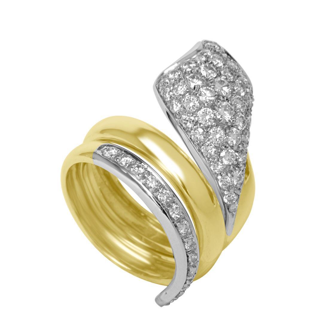 Anello Oro & Co in oro bianco e oro giallo con diamanti ct 1,45 colore G purezza SI  - ORO&CO
