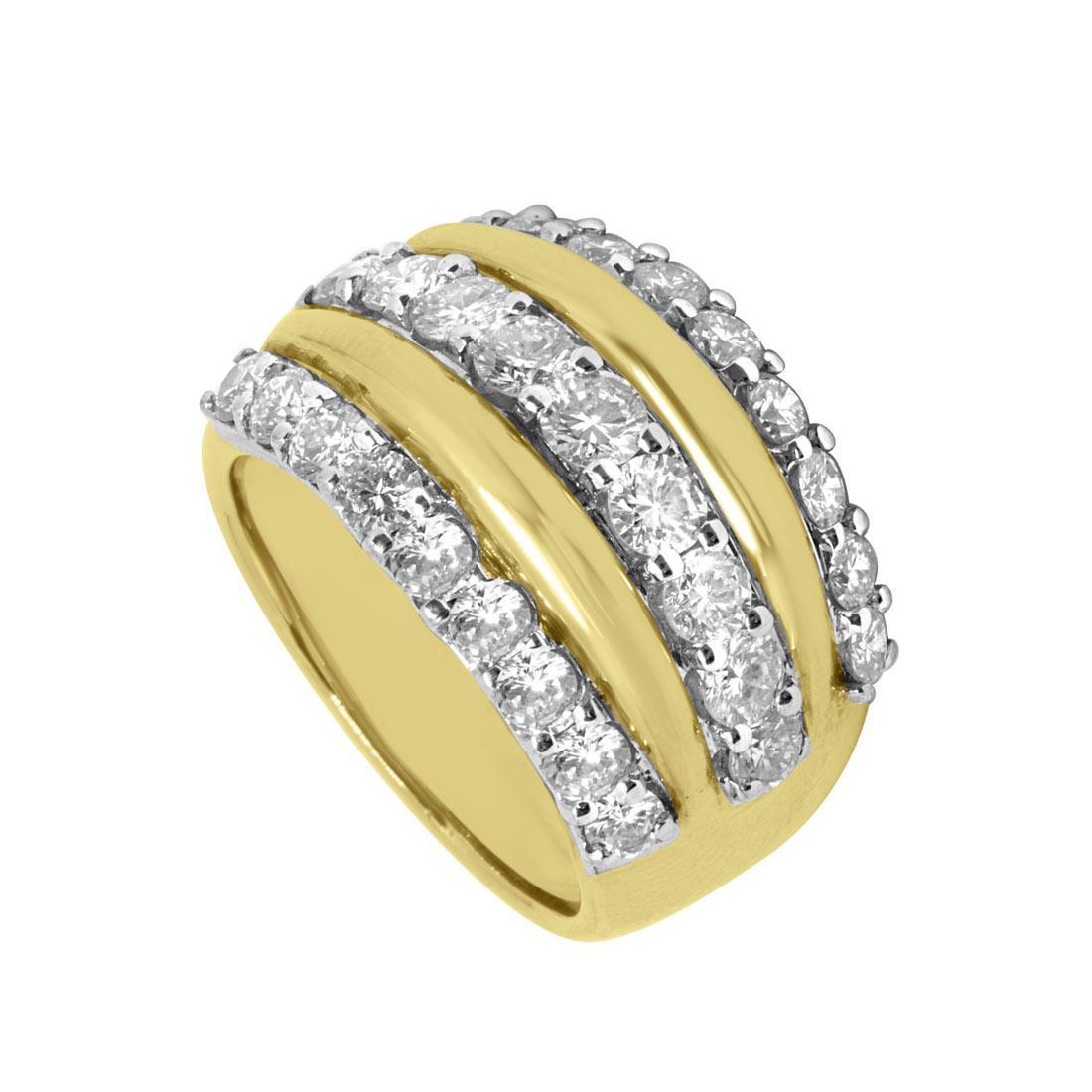 Anello a fascia in oro giallo con diamanti mis 15 - ORO&CO