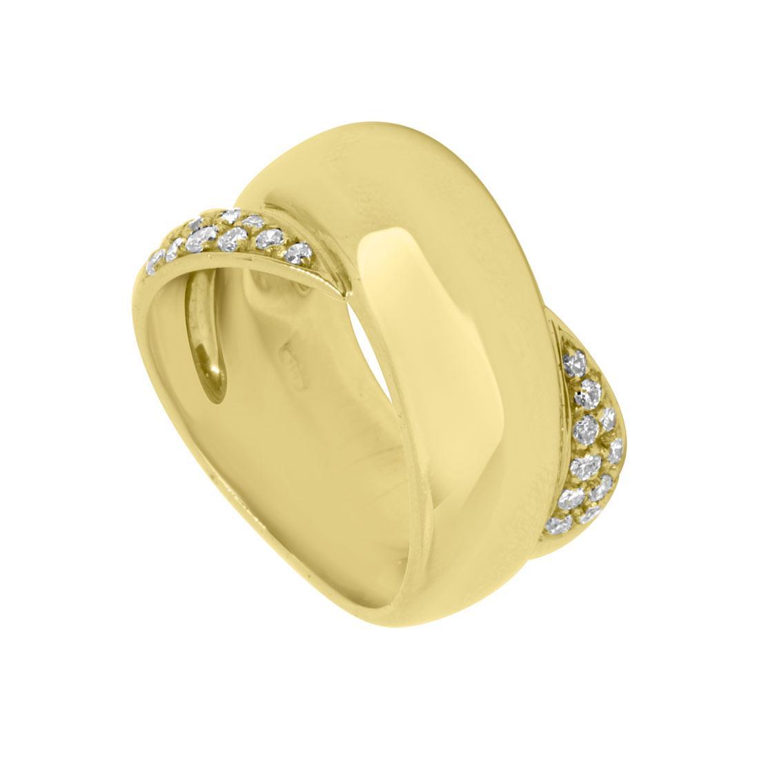 Anello a fascia con intreccio in oro giallo con diamanti mis 16 - ORO&CO