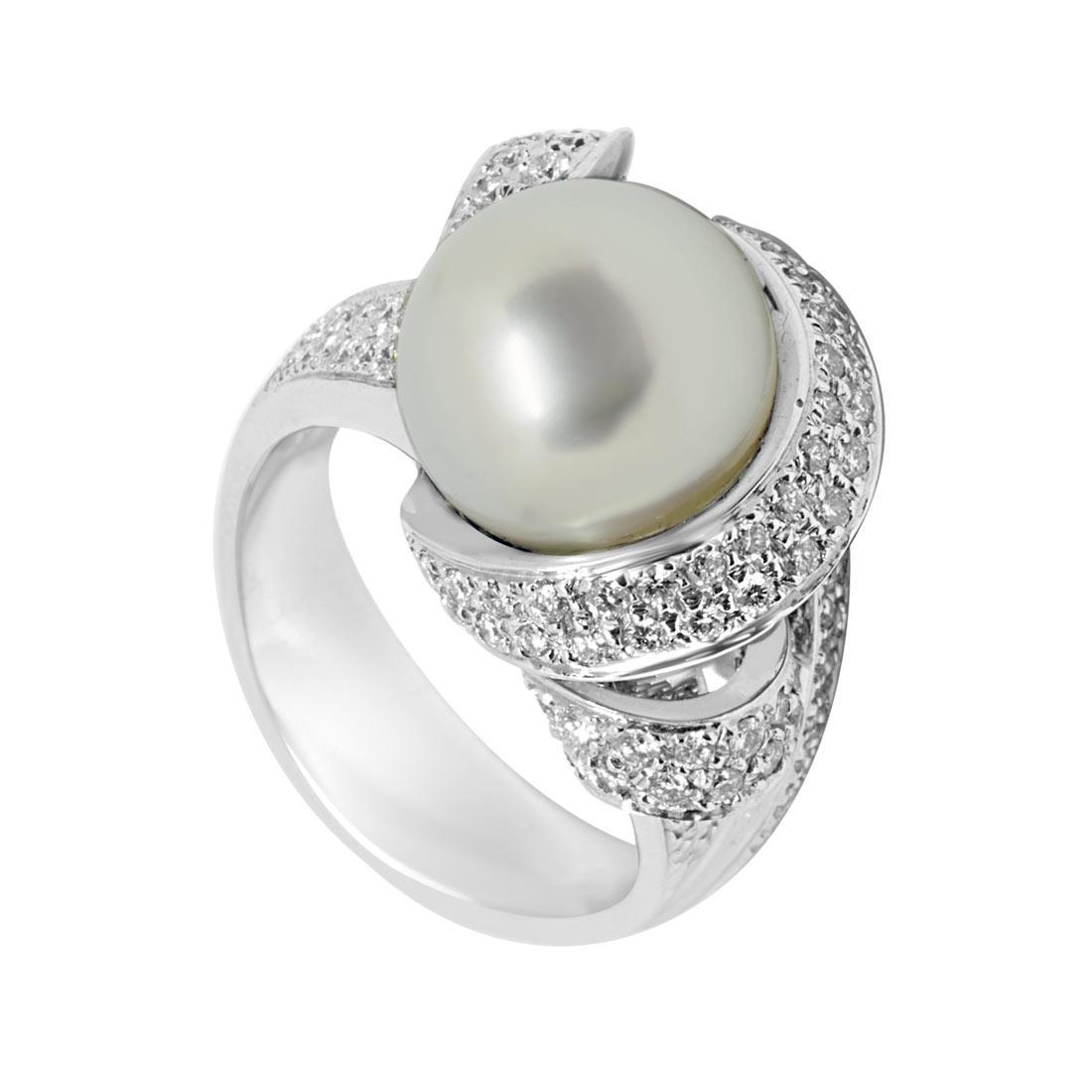Anello in oro bianco con perla e diamanti mis 14 - ORO&CO