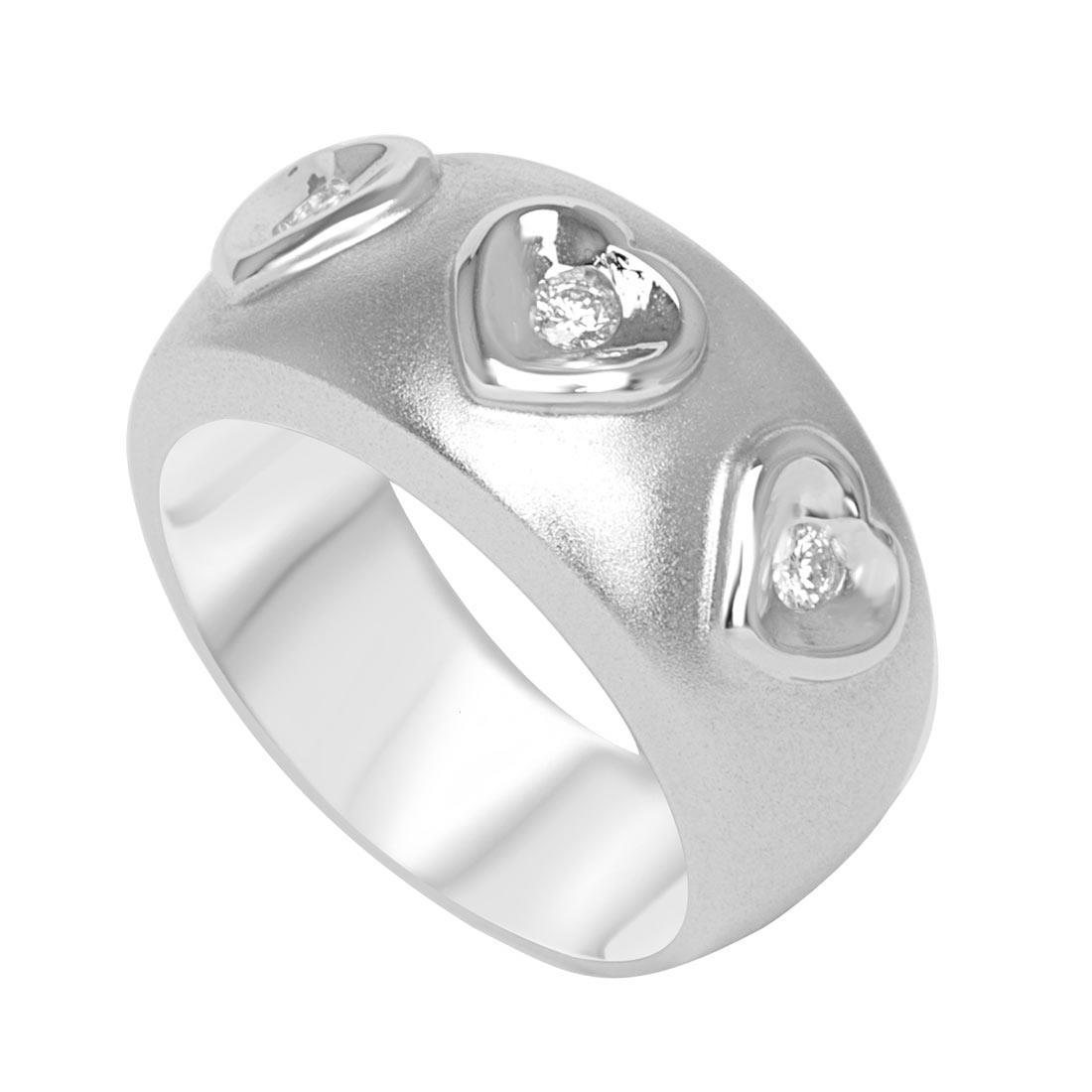 Anello a fascia in oro bianco con diamanti mis 15 - ORO&CO