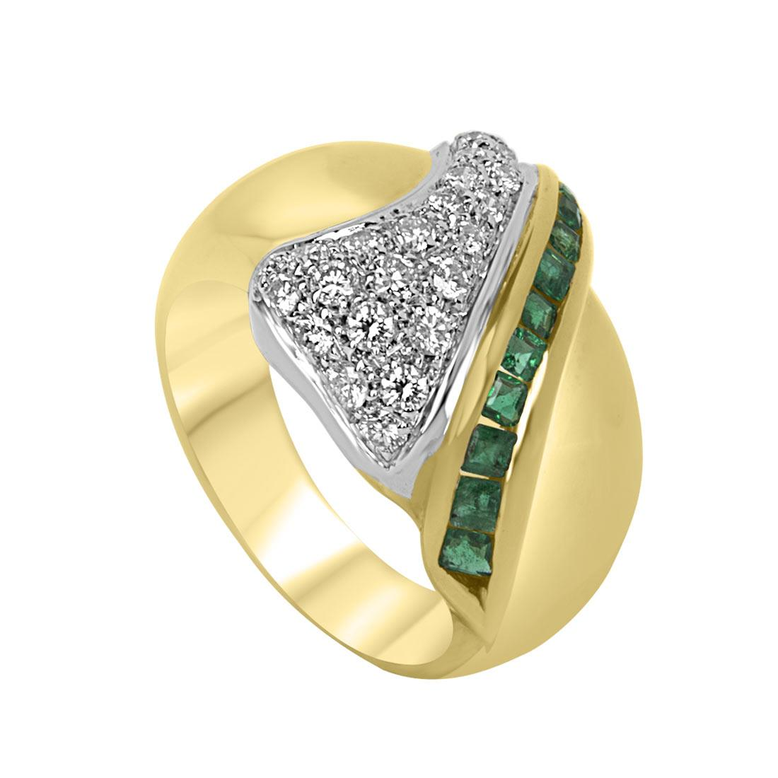 Anello a fascia in oro giallo con diamanti e smeraldi mis 16 - ORO&CO