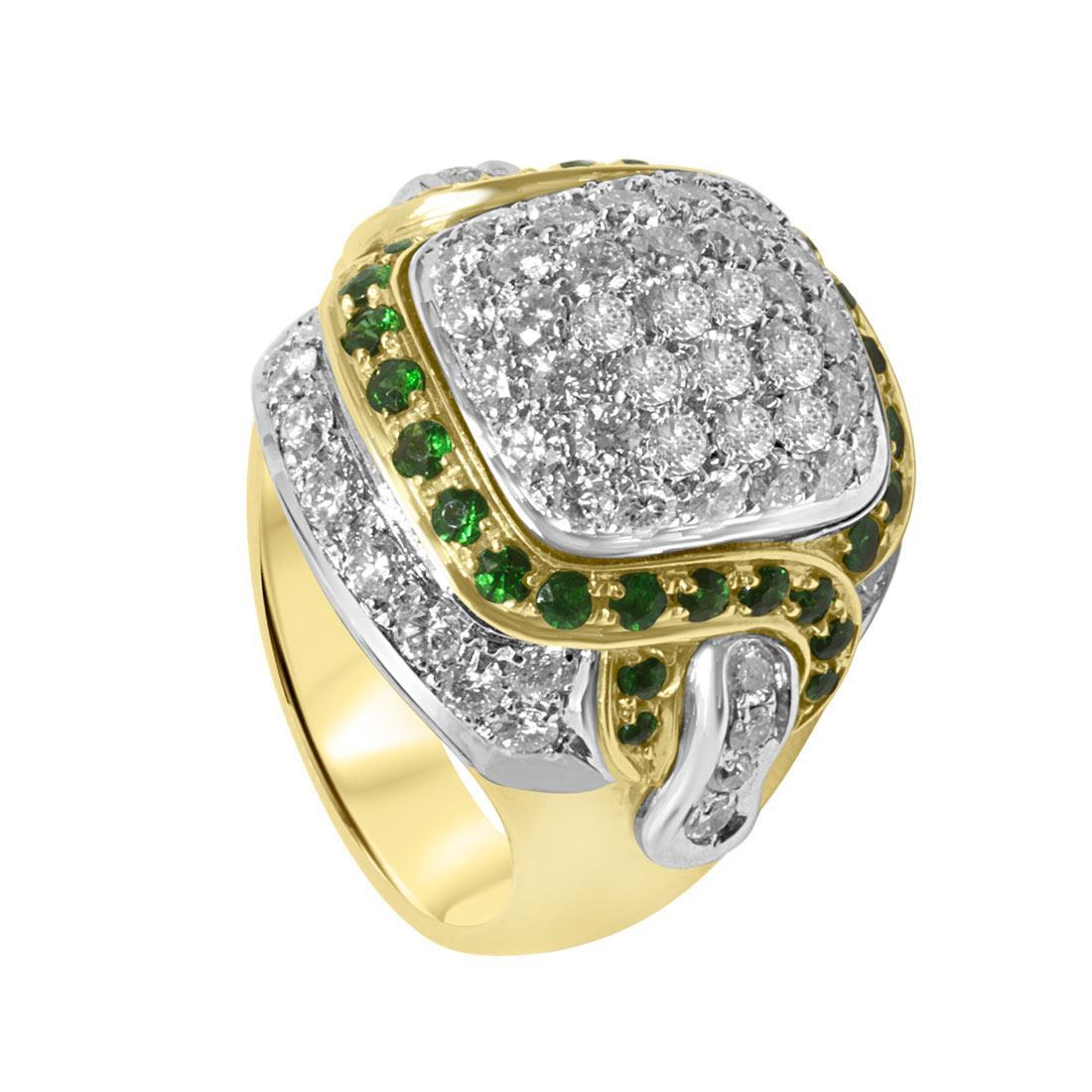 Anello in oro giallo con pavé di diamanti e smeraldi mis 17 - ORO&CO