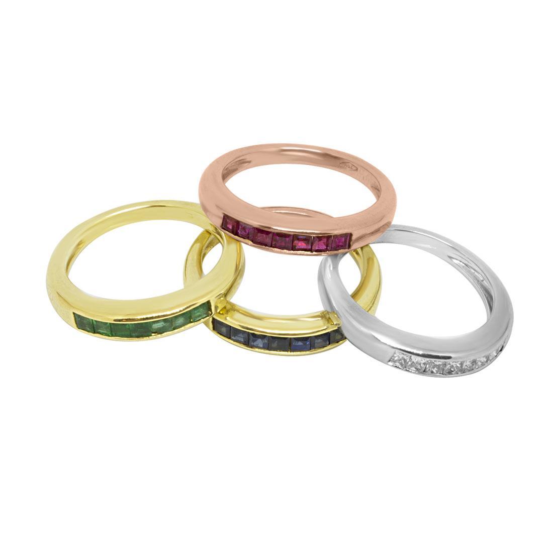 Anelli con diamanti 0.37 ct e pietre colorate misura 15 - ORO&CO