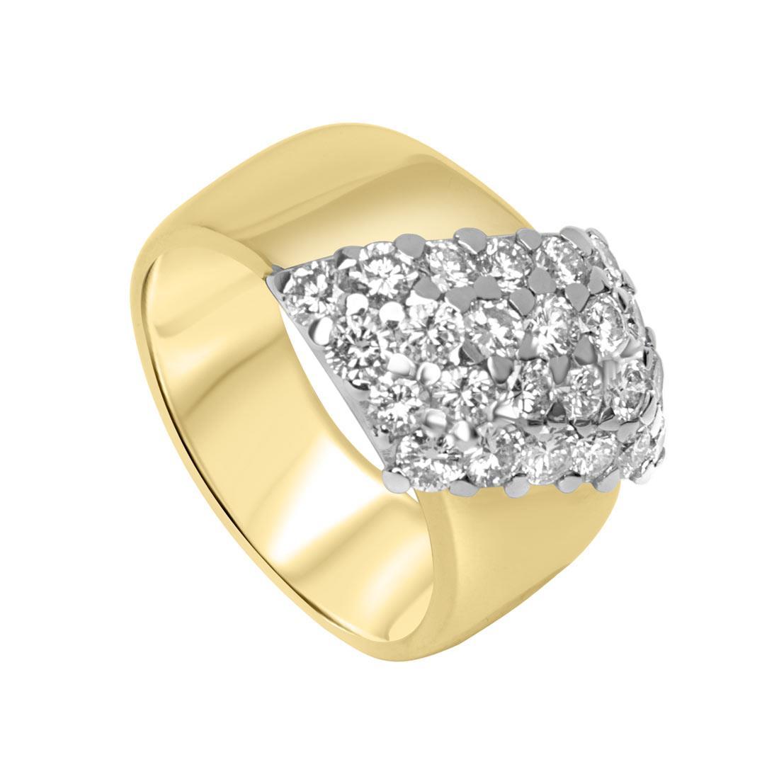 Anello in oro giallo a fascia con pavé di diamanti mis 14.5 - ORO&CO