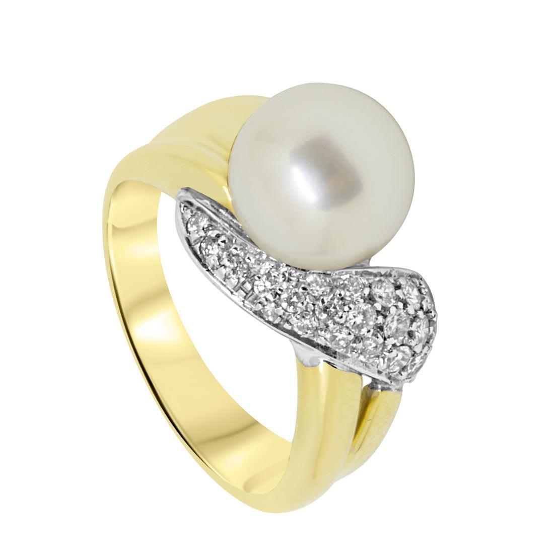 Anello Oro & Co in oro giallo con pavè di diamanti 0.35 ct e perla, misura 14 - ORO&CO