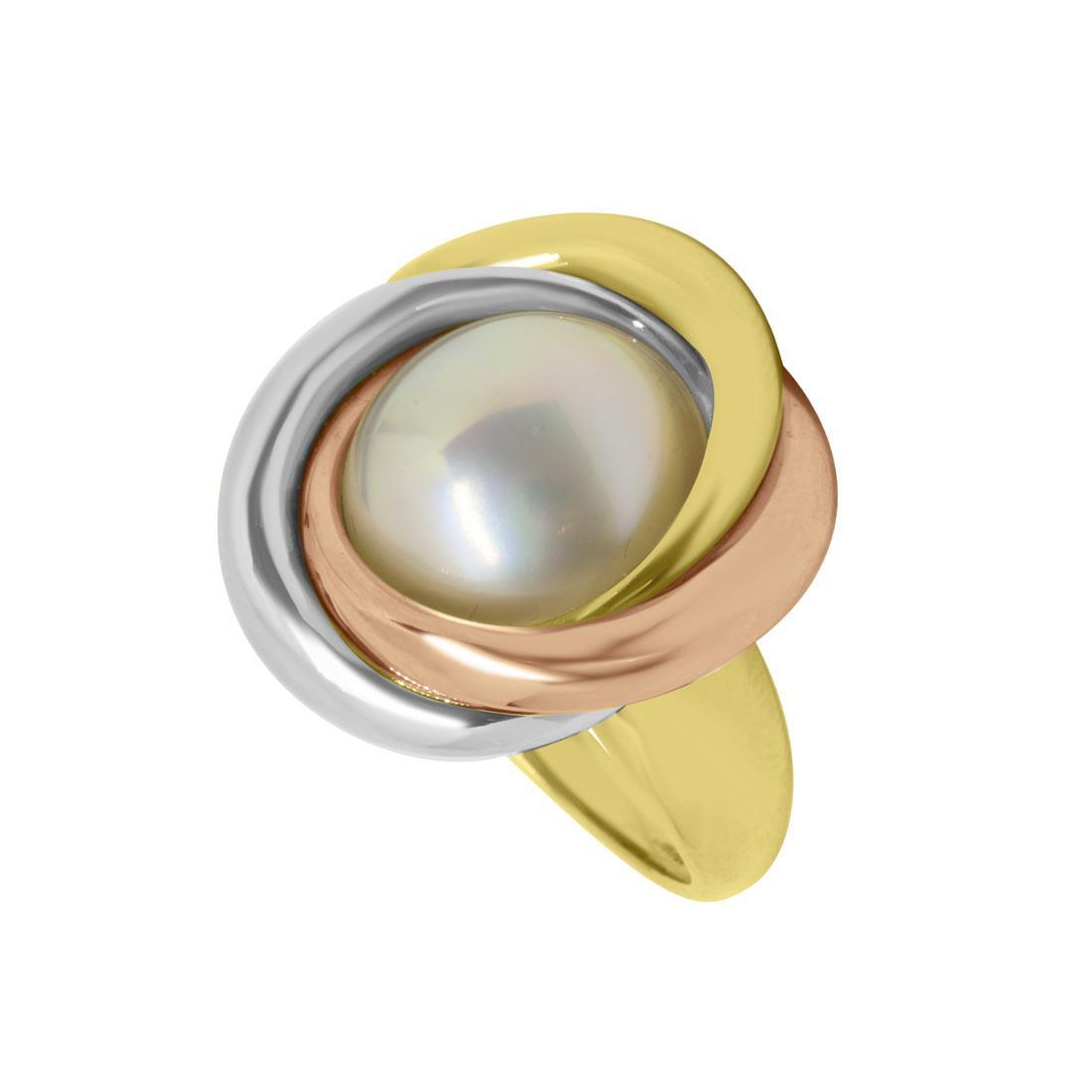 Anello Oro & Co in oro giallo con perla ed inserti in oro bianco e rosa, misura 13 - ORO&CO