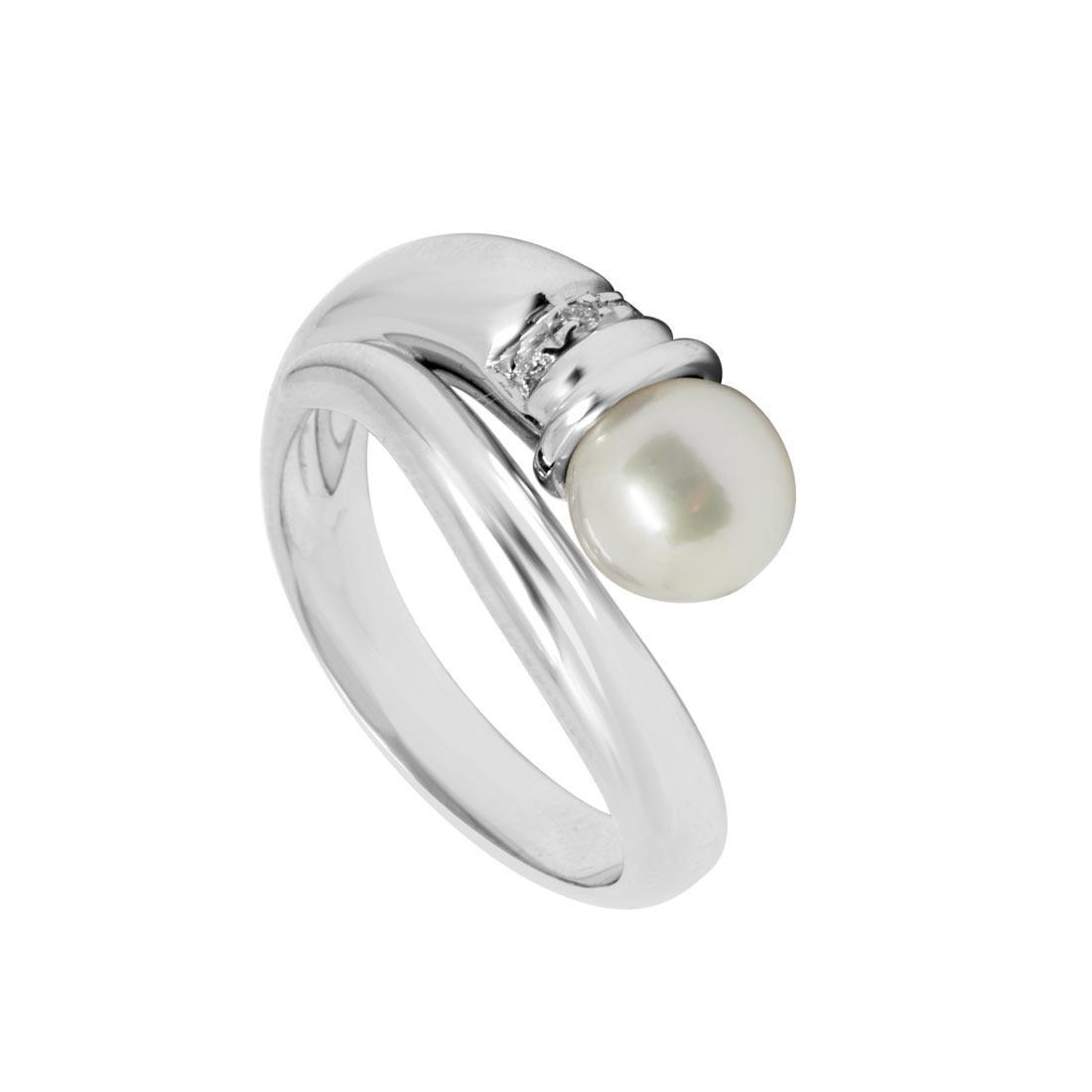 Anello Oro & Co in oro bianco con diamanti 0.54 ct e perla, misura 16 - ORO&CO
