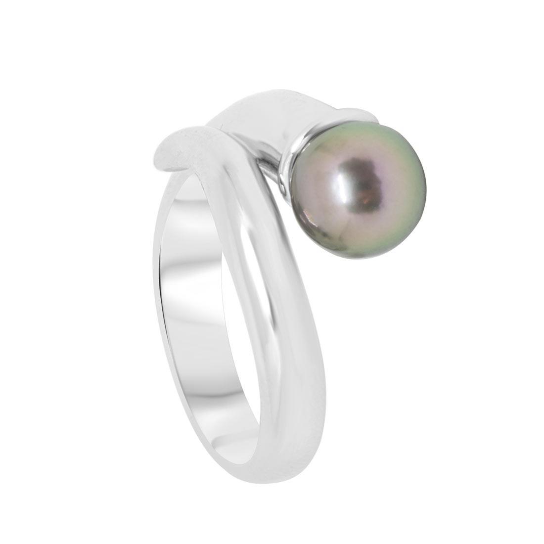 Anello Oro & Co in oro bianco con perla misura 12 - ORO&CO