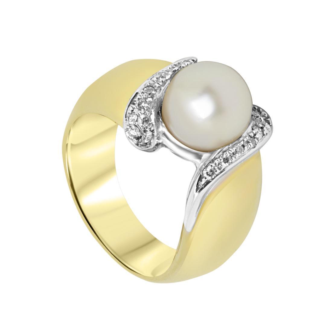 Anello Oro & Co  in oro giallo con diamanti 0.14 e perla, misura 12 - ORO&CO