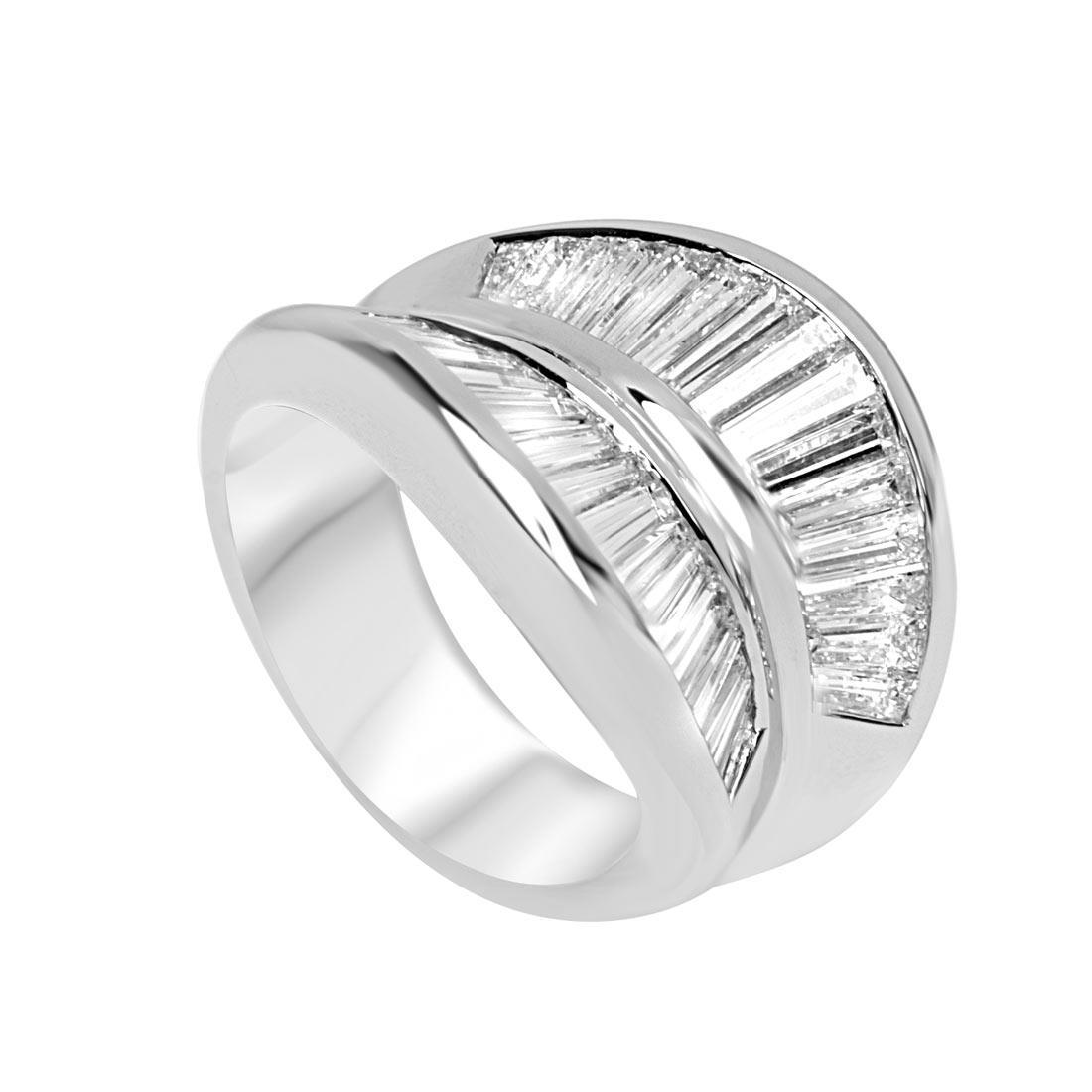 Anello design in oro bianco con diamanti taglio baguette - ORO&CO