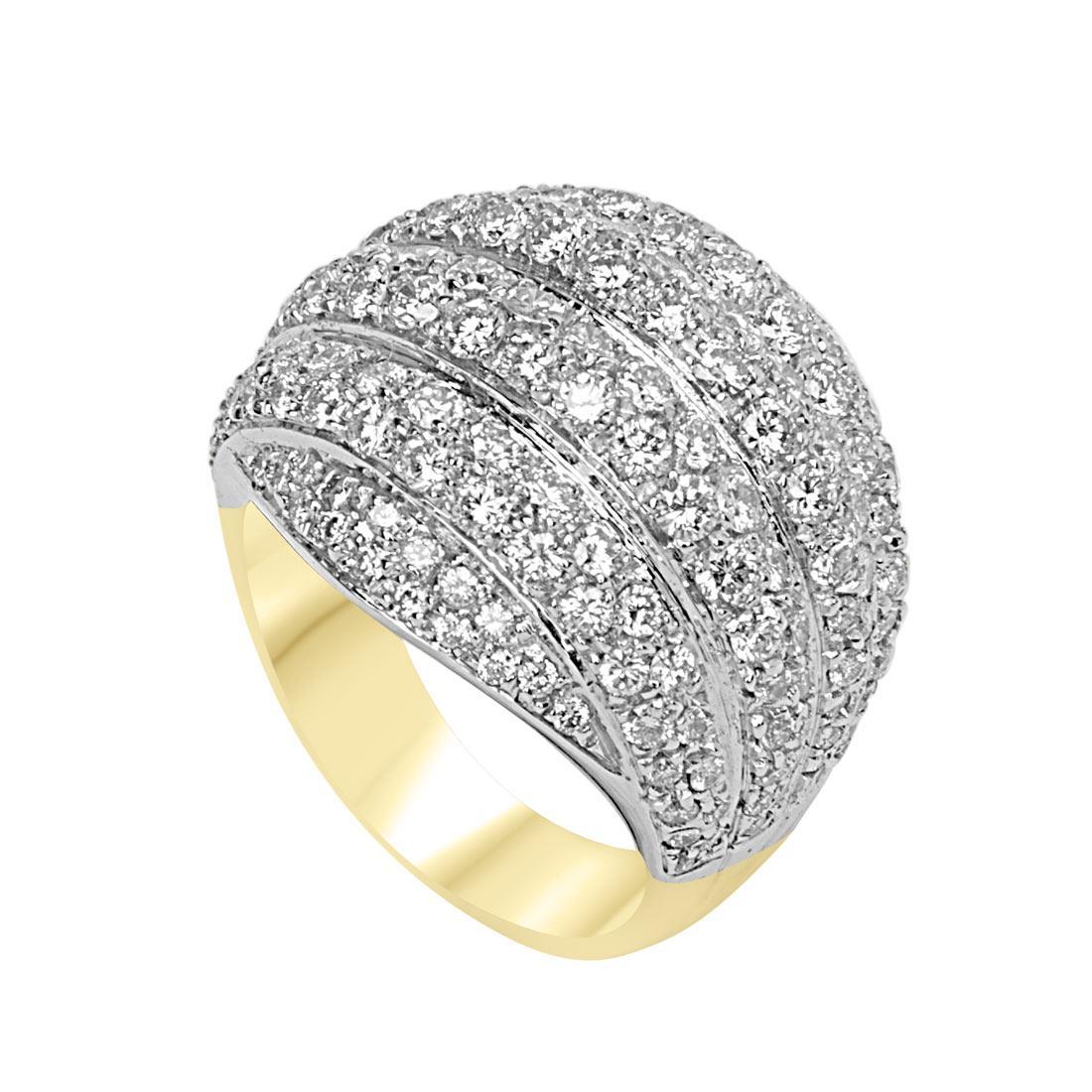Anello in oro giallo e bianco con pavé di diamanti - ORO&CO
