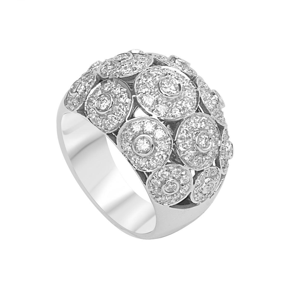 Anello in oro bianco a fascia con pavé di diamanti 1.38 ct mis 14 - ORO&CO
