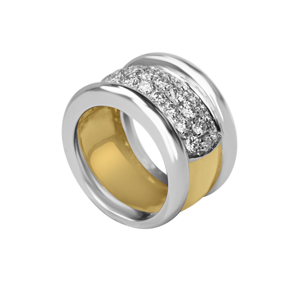 Anello a fascia in oro bianco e giallo con pavé di diamanti mis 15 - ORO&CO