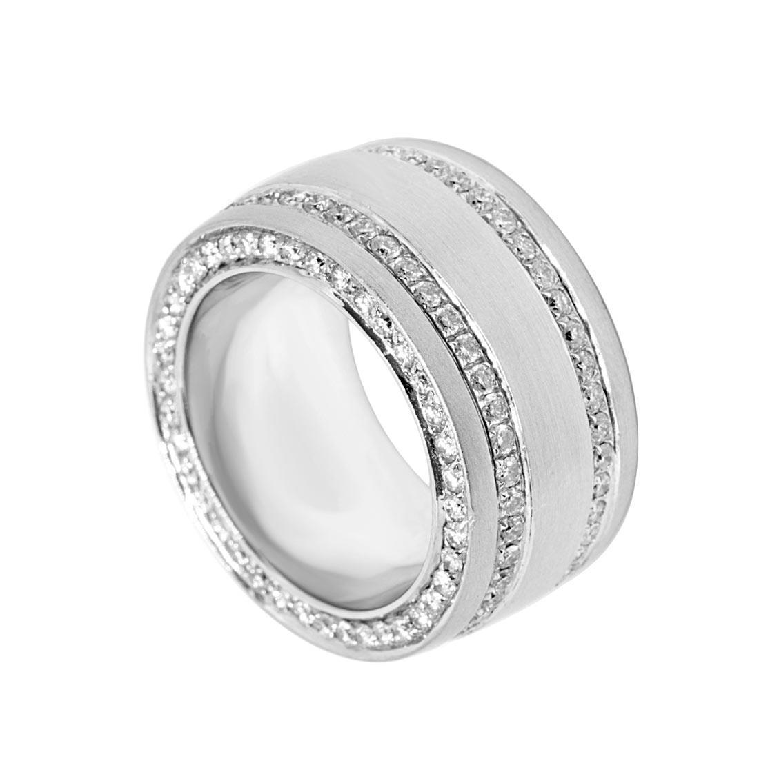 Anello Oro & Co in oro bianco a fascia con diamanti 2.00 ct, mis. 15 - ORO&CO