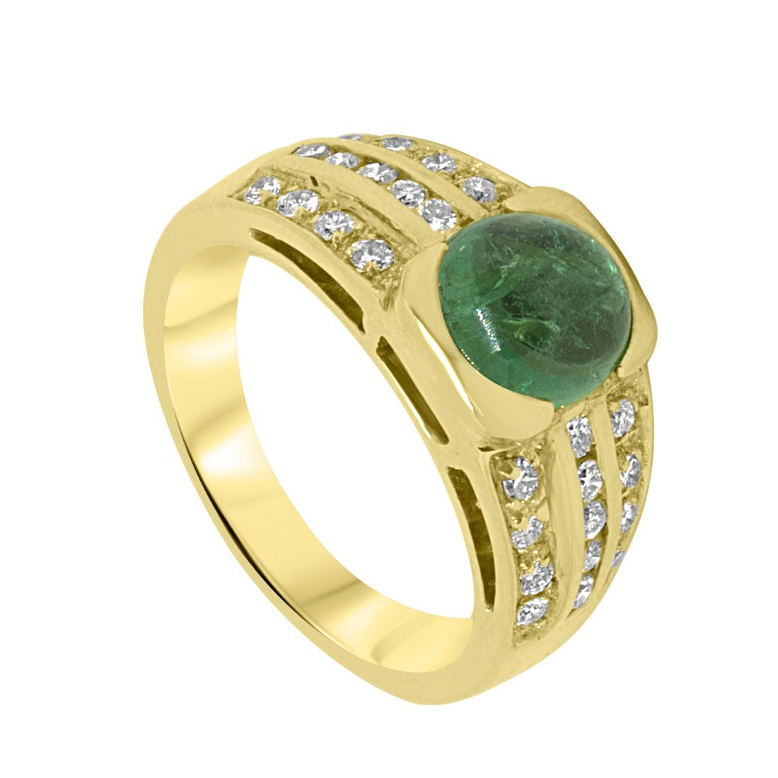 Anello Oro & Co in oro giallo con diamanti ct 0.78 e smeraldo ct 2.32, misura 14 - ORO&CO