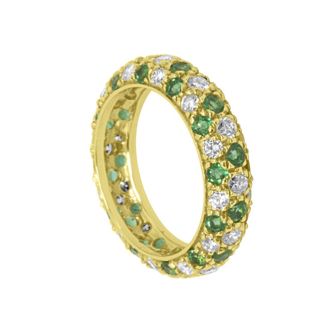 Anello Oro & Co in oro giallo con diamanti 1.40 ct e smeraldi 0.71 ct, misura 14 - ORO&CO