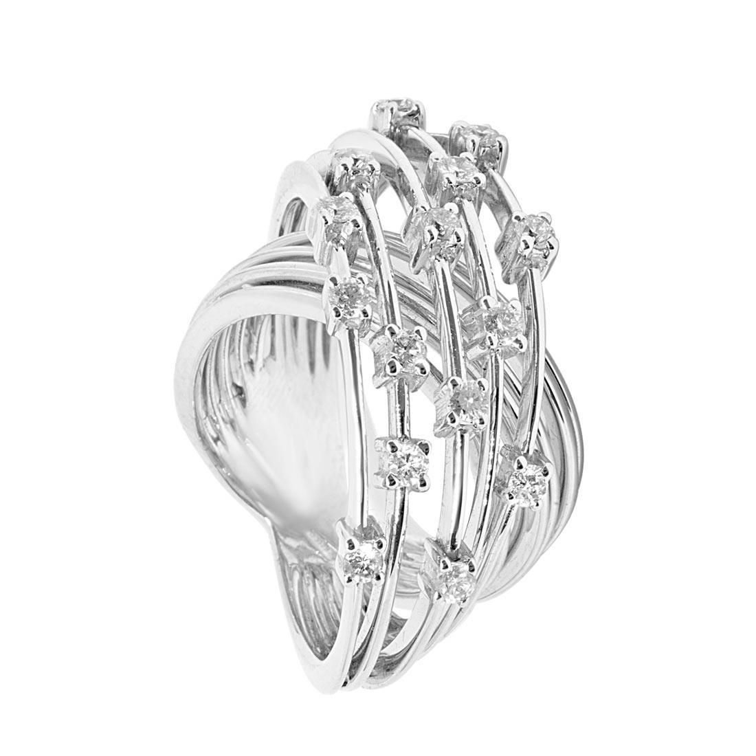 Anello Oro & Co in oro bianco con diamanti 0.61 ct, misura 13 - ORO&CO