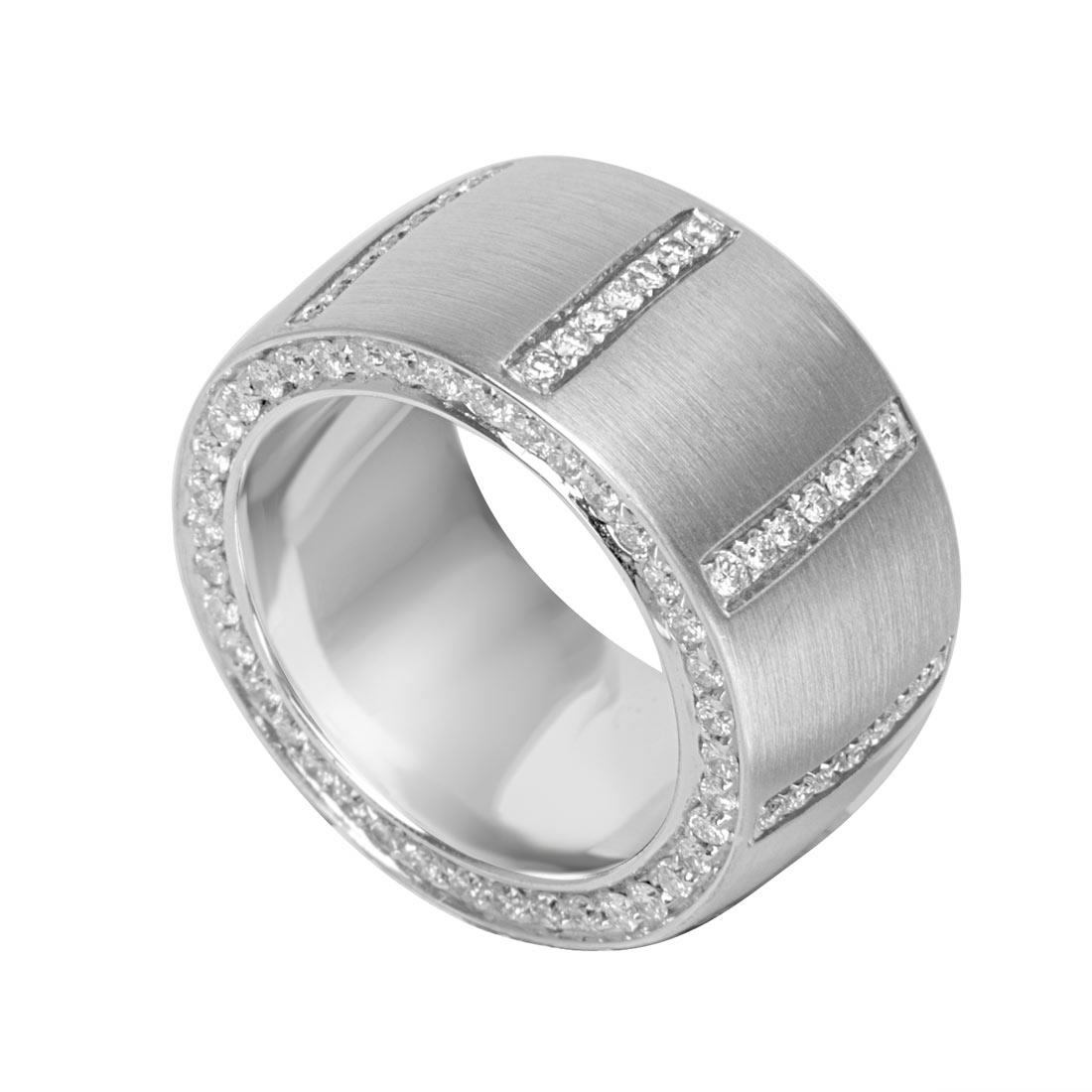 Anello a fascia in oro bianco con diamanti 1.45 ct mis 13 - ORO&CO