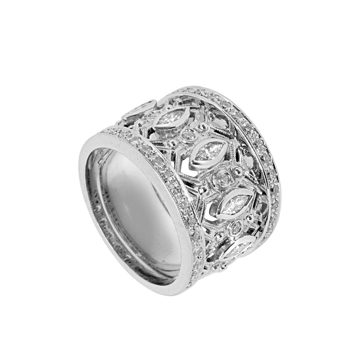 Anello Oro & Co in oro bianco con diamanti 1.09 ct, misura 16 - ORO&CO