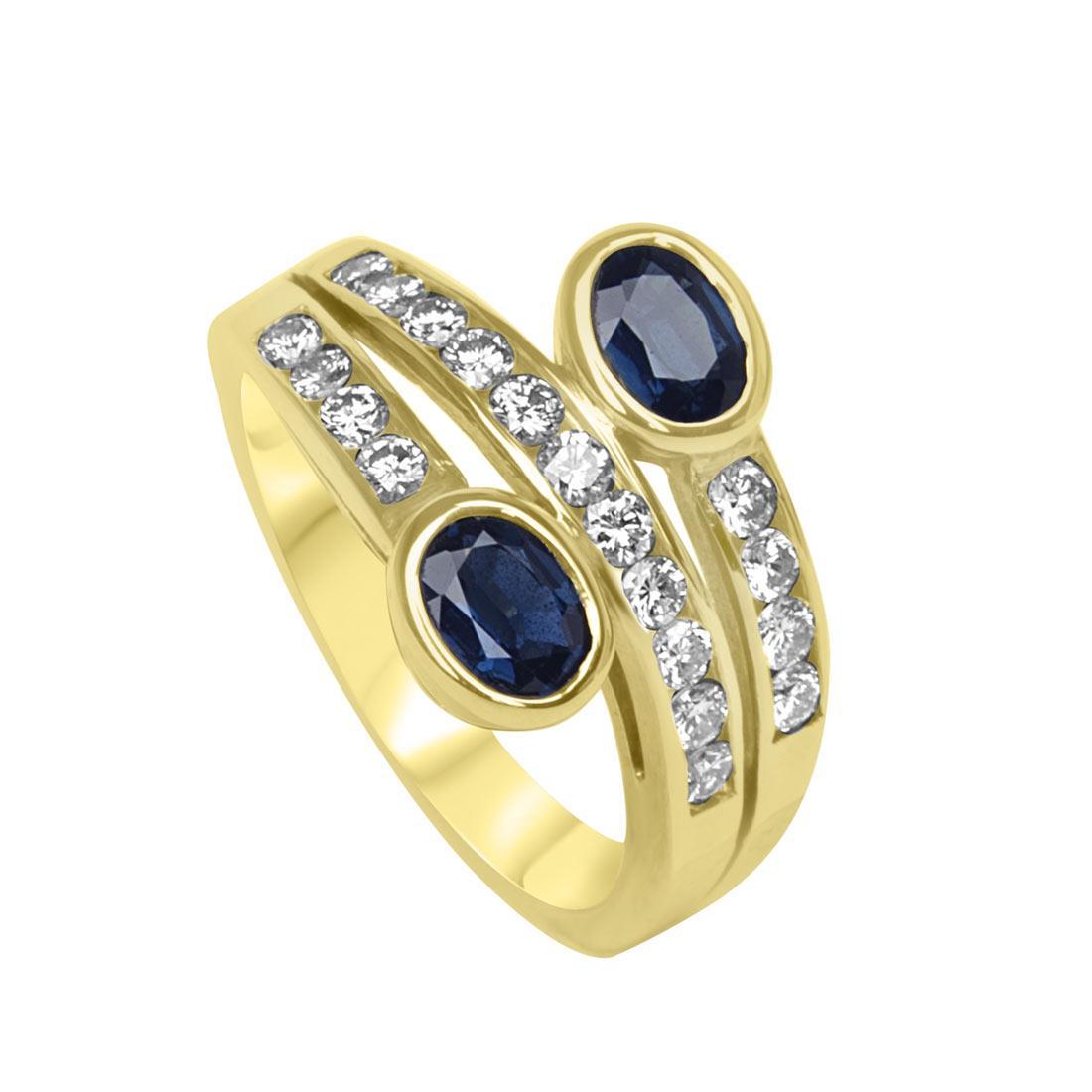Anello in oro giallo con diamanti ct 0.57 e zaffiri ct 0.89 mis 14 - ORO&CO