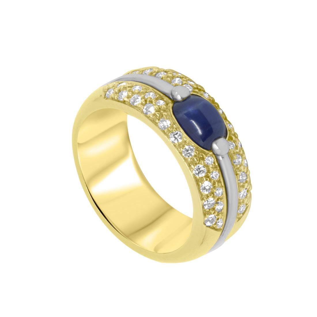 Anello in oro giallo con diamanti ct 0.58 e zaffiri ct 1.50, misura 15 - ORO&CO