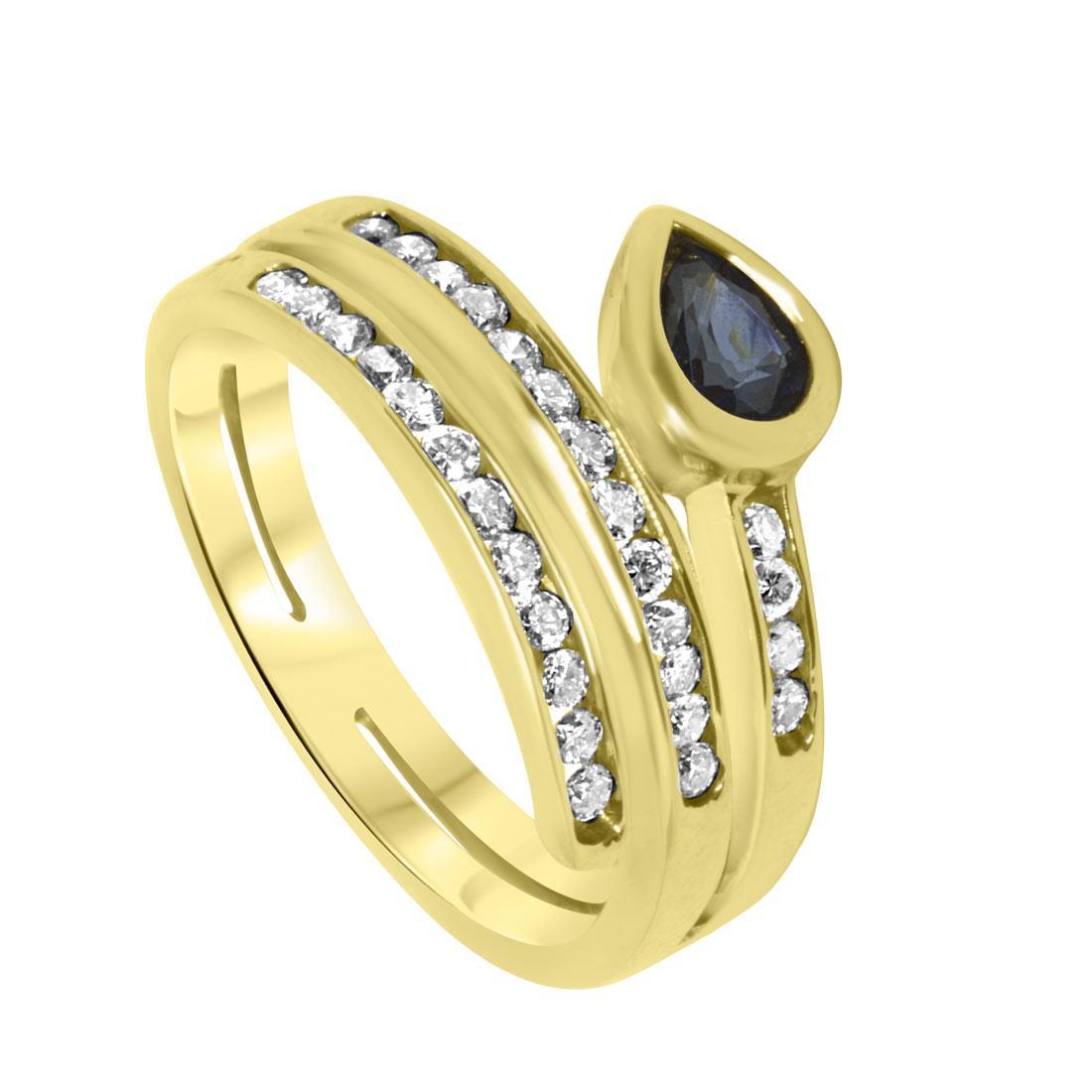 Anello in oro giallo con diamanti ct 0.43 e zaffiri ct 0.43, misura 14.5 - ORO&CO