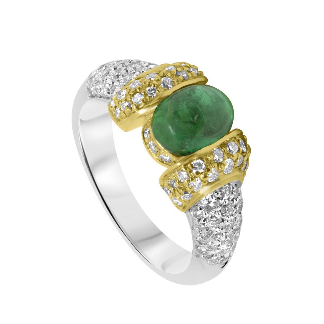 Anello Oro & Co in oro bianco e giallo, con diamanti 0.80 ct e smeraldo, misura 14 - ORO&CO