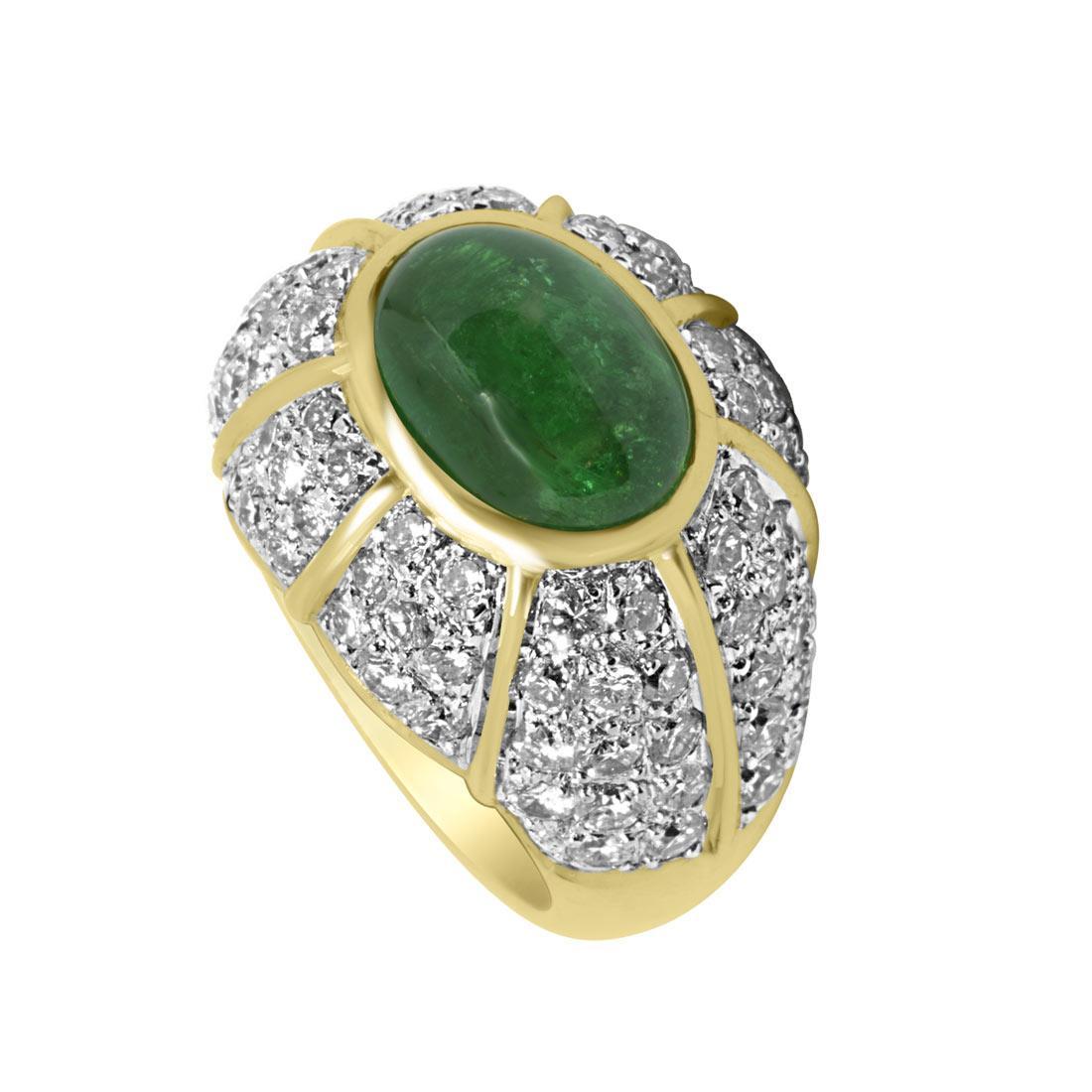 Anello in oro giallo con pavé di diamanti e smeraldo mis 14 - ORO&CO