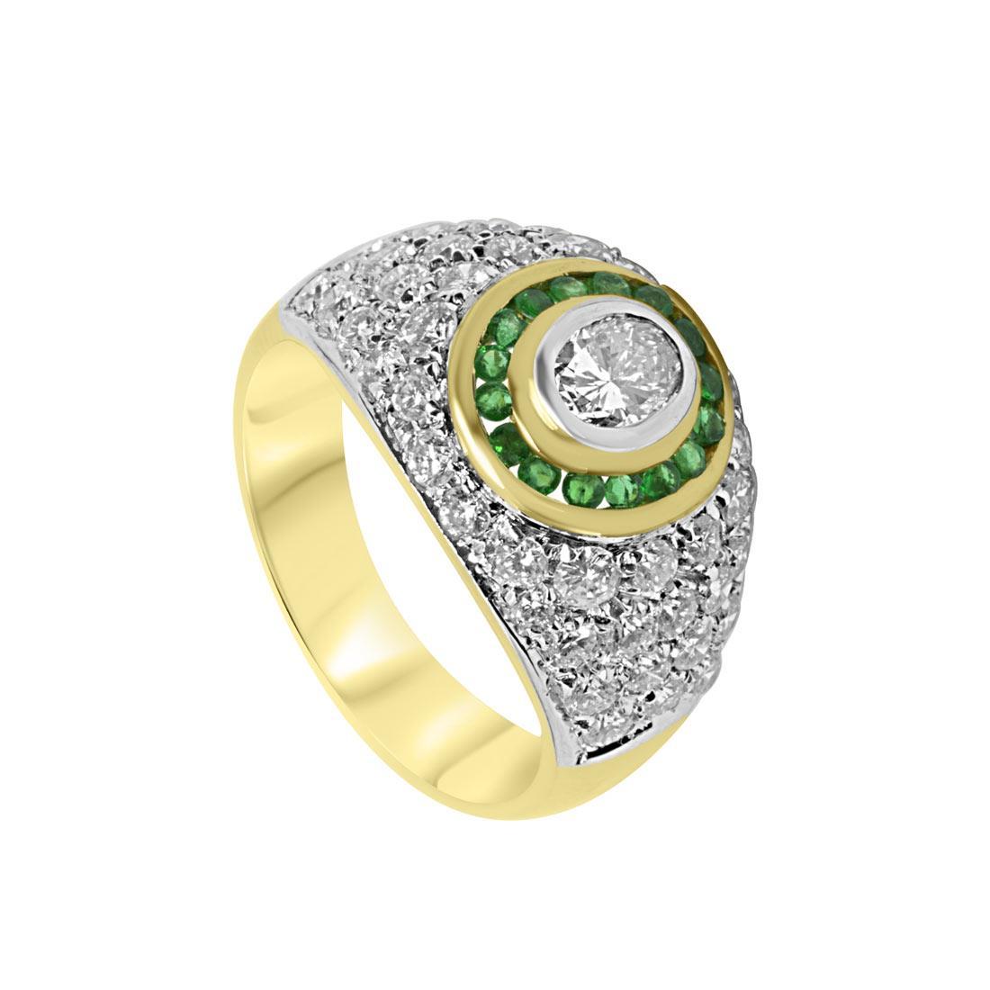 Anello in oro giallo con pavé di diamanti e smeraldi mis 14 - ORO&CO