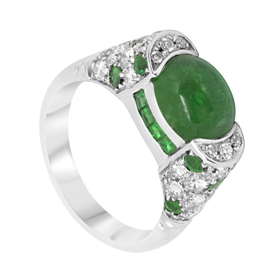 Anello in oro bianco con diamanti e smeraldi mis 14 - ORO&CO