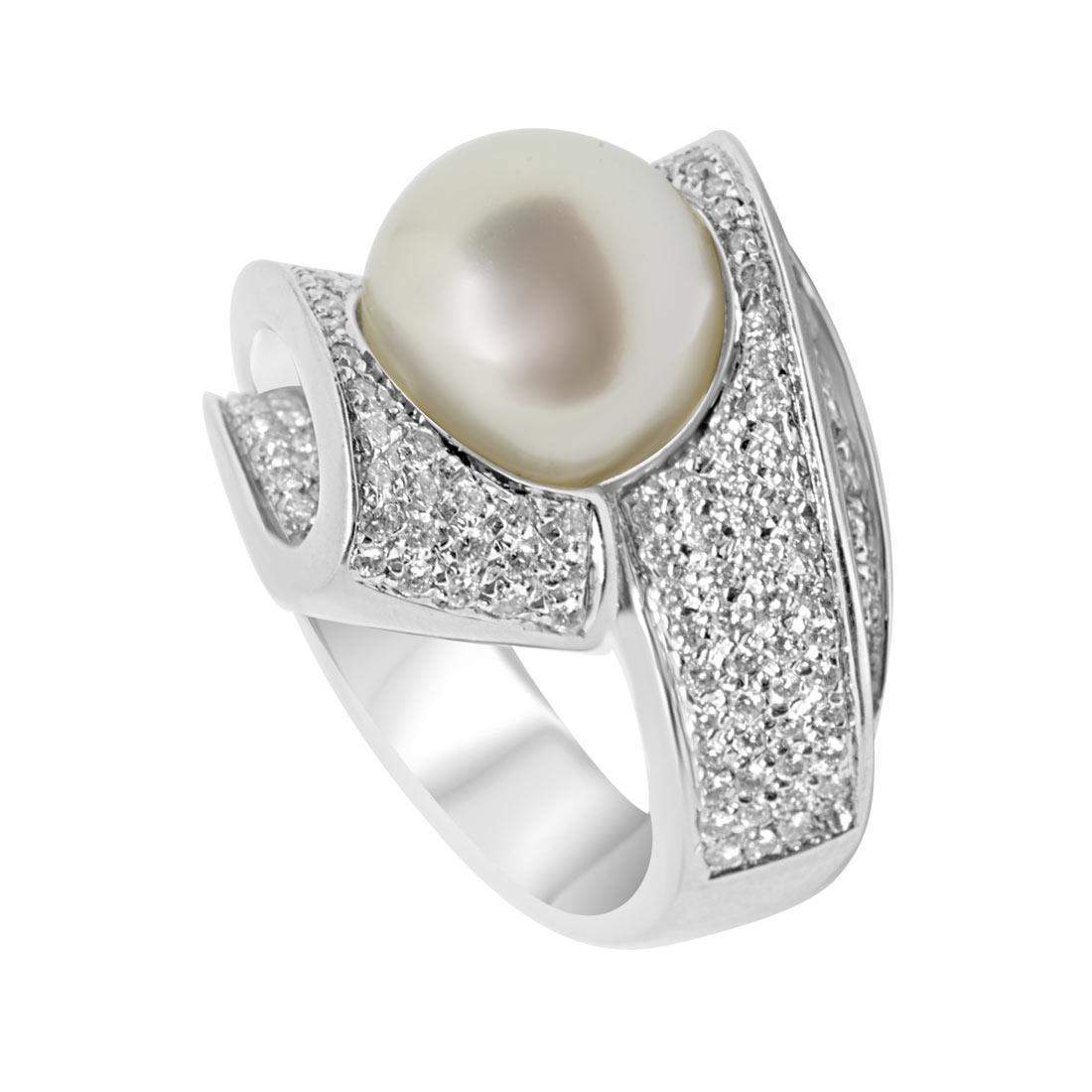 Anello Oro & Co in oro bianco con diamanti 1.05 ct e perla, misura 12 - ORO&CO