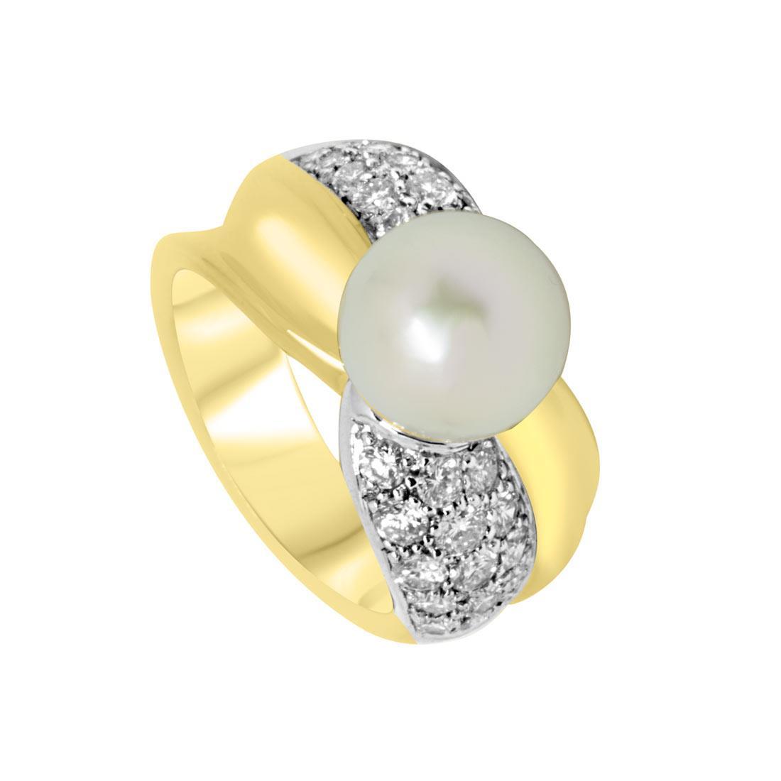 Anello Oro & Co in oro giallo con diamanti 1.03 ct e perla, misura 12 - ORO&CO