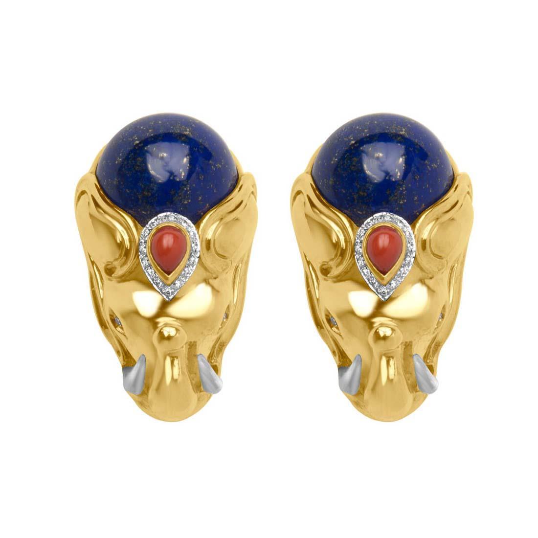 Orecchini in oro giallo e diamanti ct 0.10 e pietre - ORO&CO