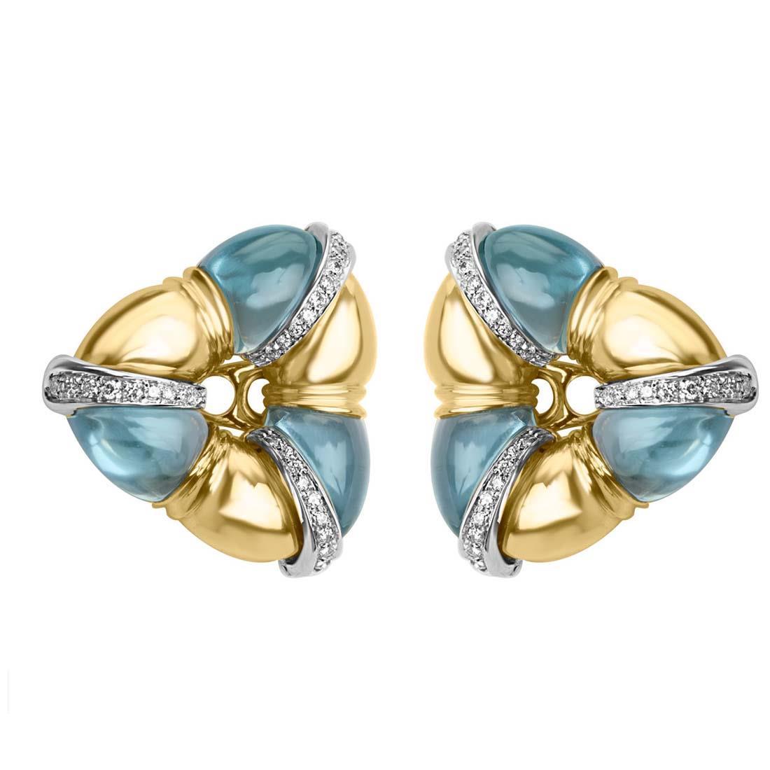 Orecchini in oro giallo con diamanti ct 0.58 e pietre azzurre - ORO&CO