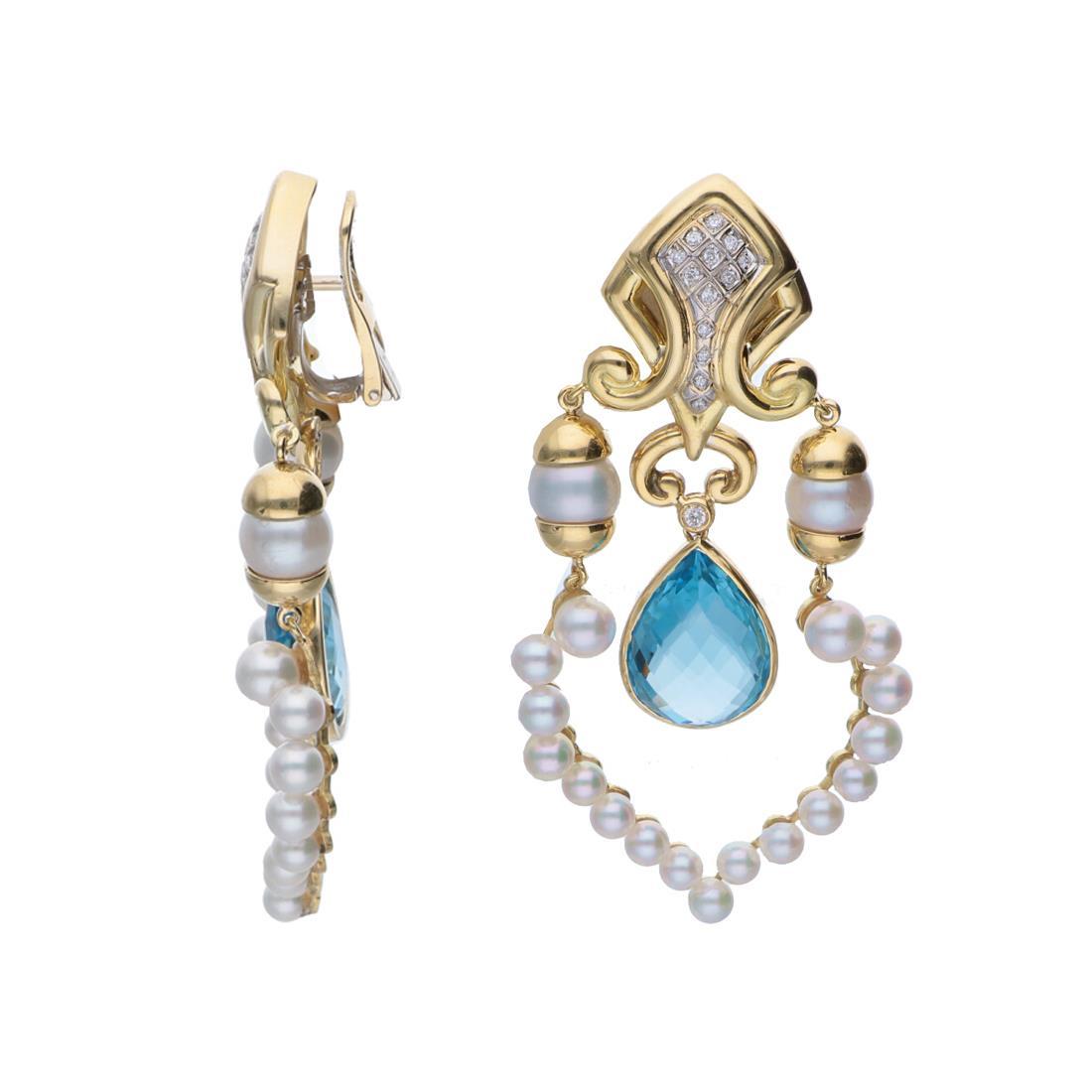 Orecchini in oro giallo con perle e diamanti - ORO&CO