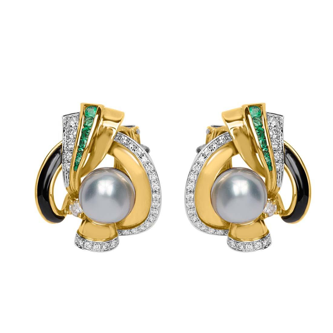 Orecchini in oro giallo con diamanti ct 1.20 e pietre - ORO&CO