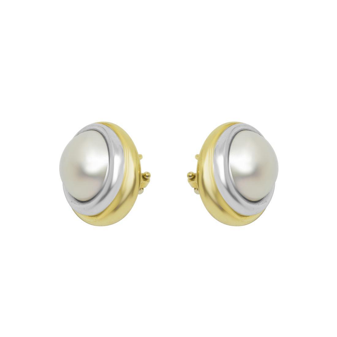 Orecchini in oro bianco e giallo con perle - ORO&CO
