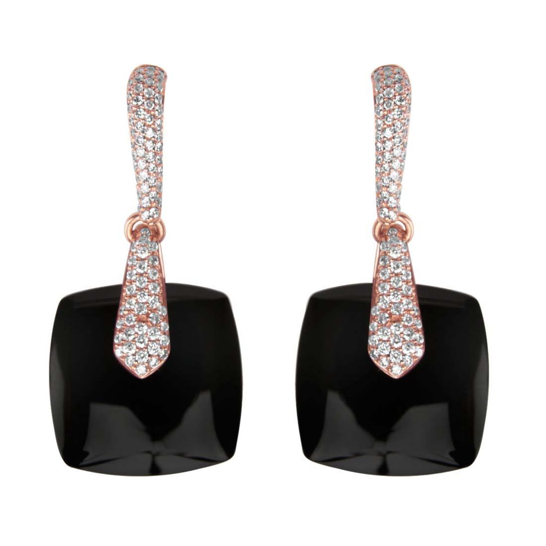 Orecchini Oro & Co in oro bianco e diamanti ct. 0.82 con pietre nere - ORO&CO