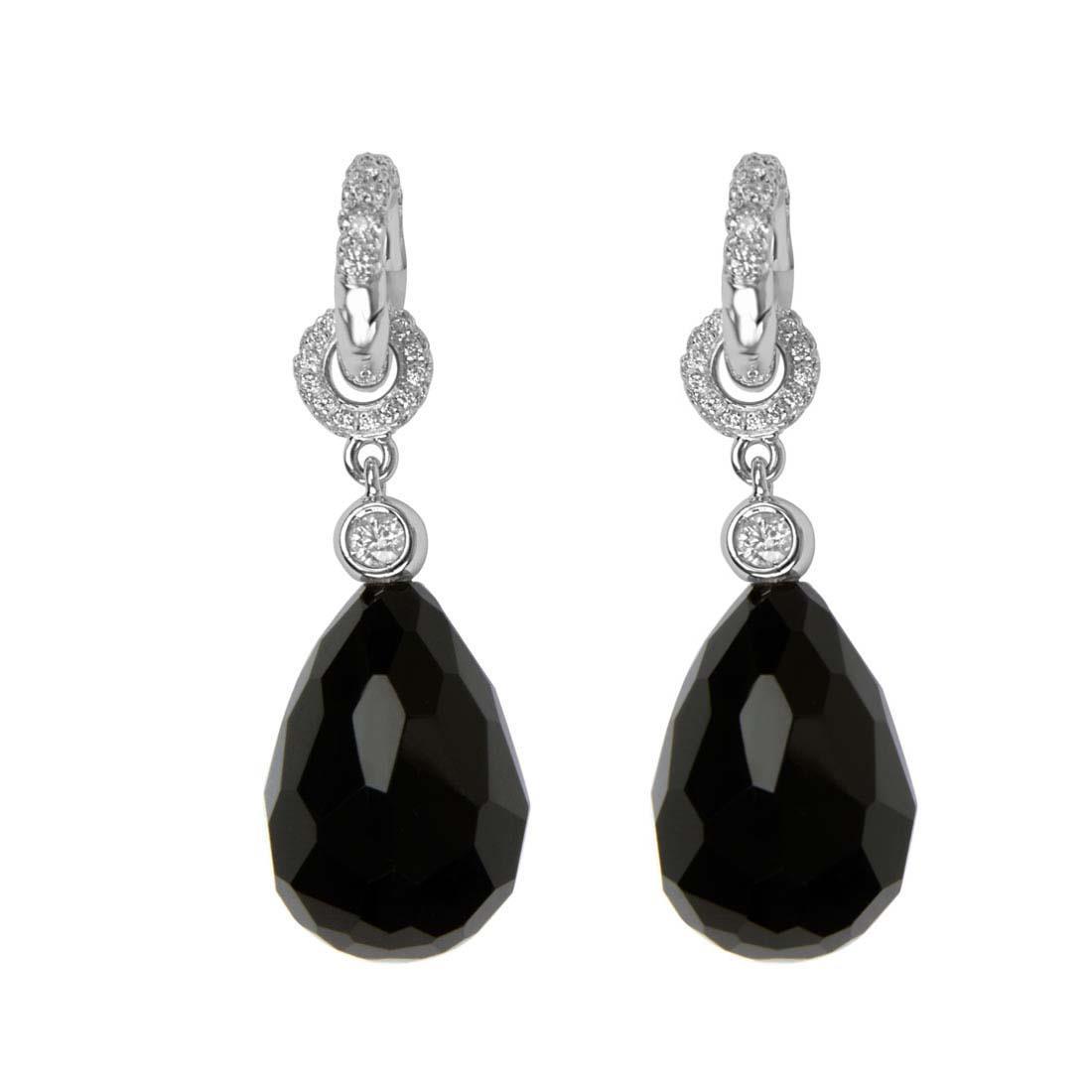 Orecchini Oro & Co in oro bianco e diamanti ct 1.30 e pietra nera - ORO&CO
