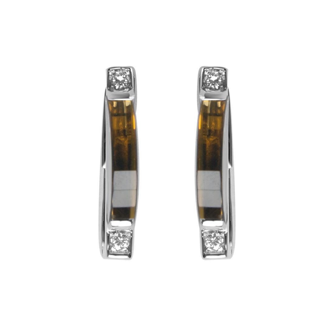 Orecchini in oro bianco con diamanti e pietre semipreziose - ORO&CO