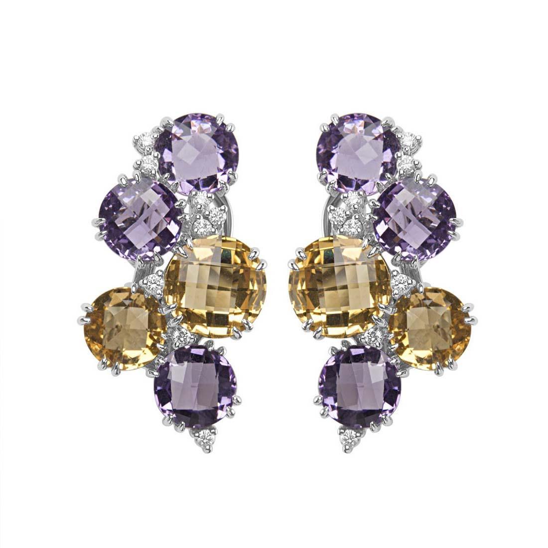 Orecchini in oro bianco con diamanti e pietre semipreziose viola e gialle - ORO&CO