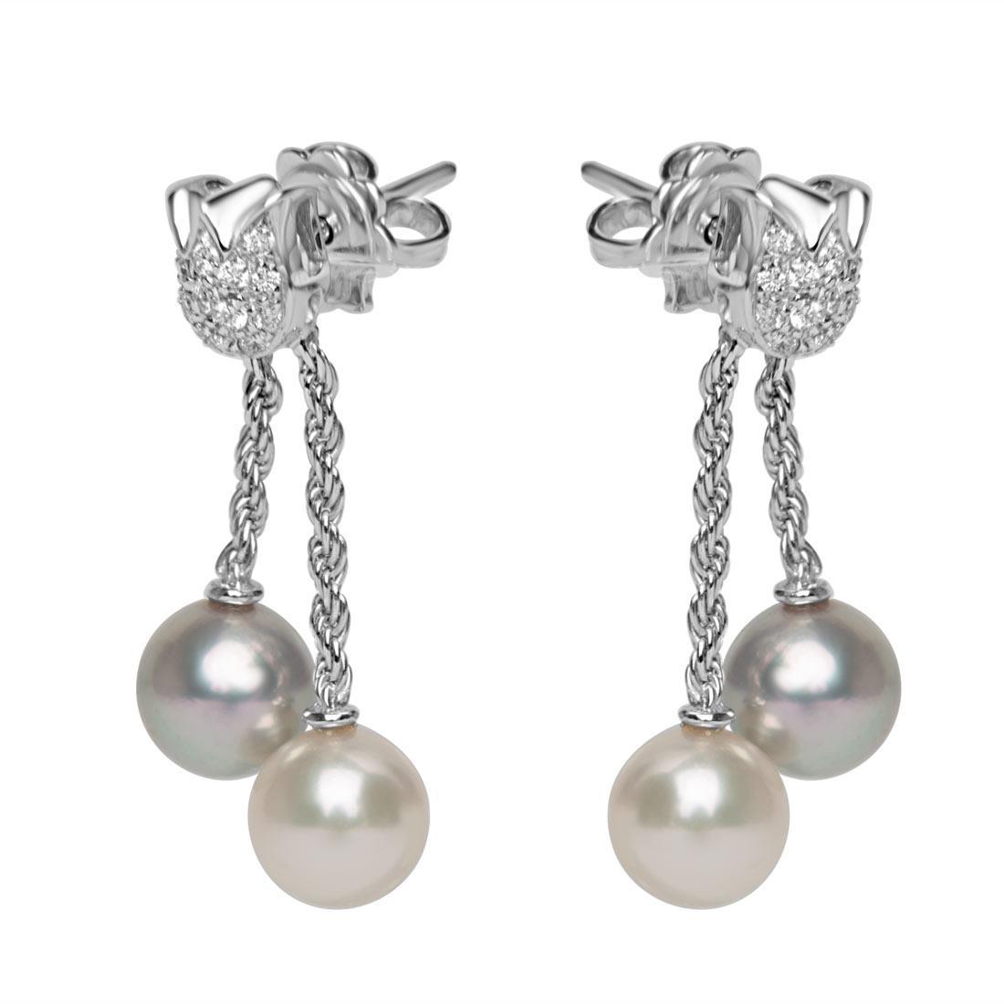 Orecchini in oro bianco con diamanti ct 0.26 e perle - ORO&CO