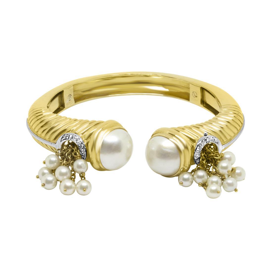 Bracciale rigido aperto con perle e diamanti - ORO&CO