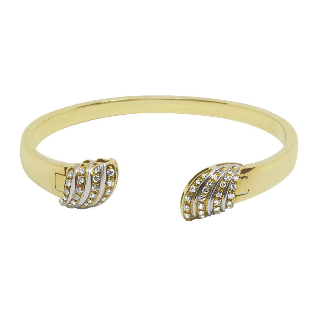 Bracciale rigido in oro giallo e bianco con diamanti - ORO&CO