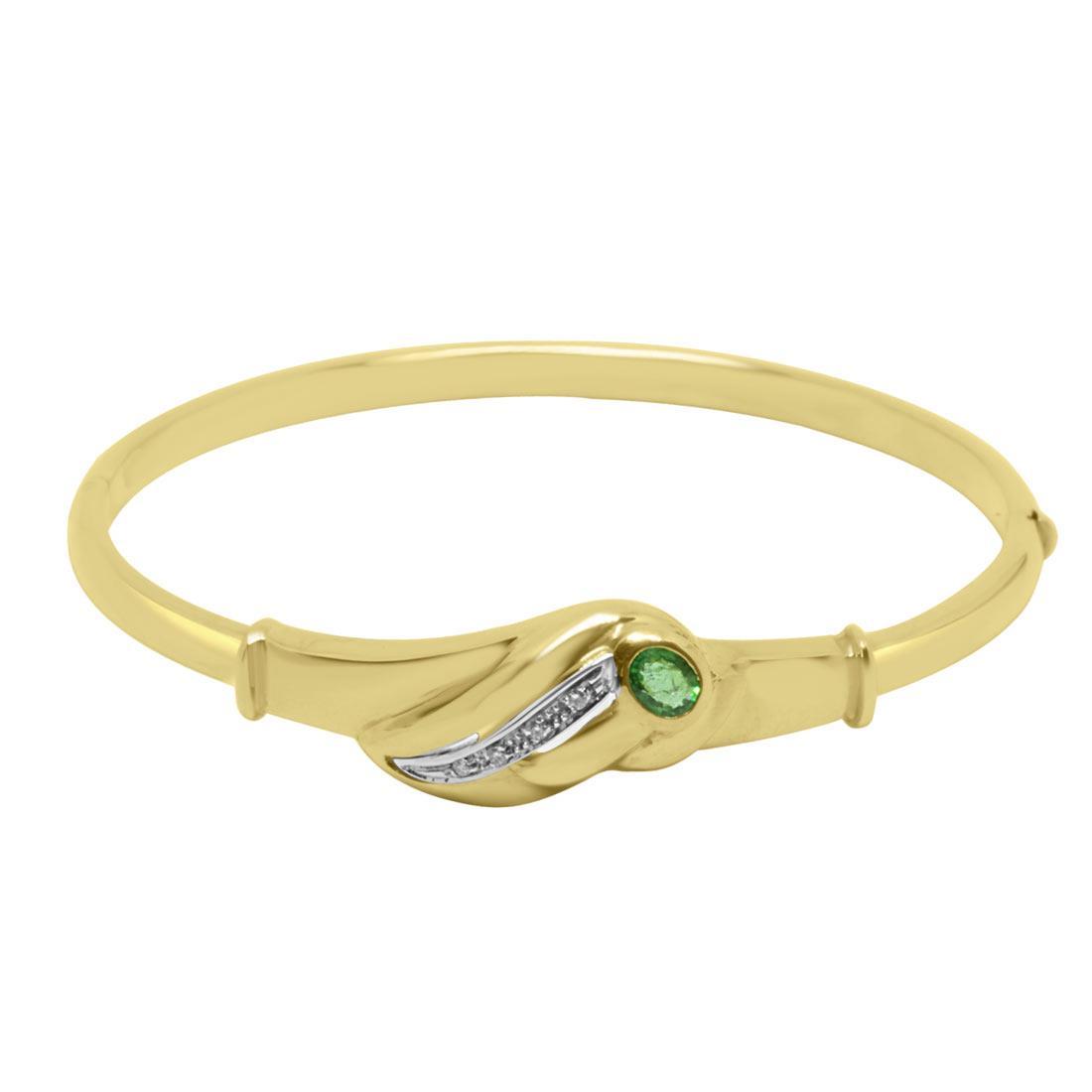 Bracciale in oro giallo con diamanti e smeraldi - ORO&CO